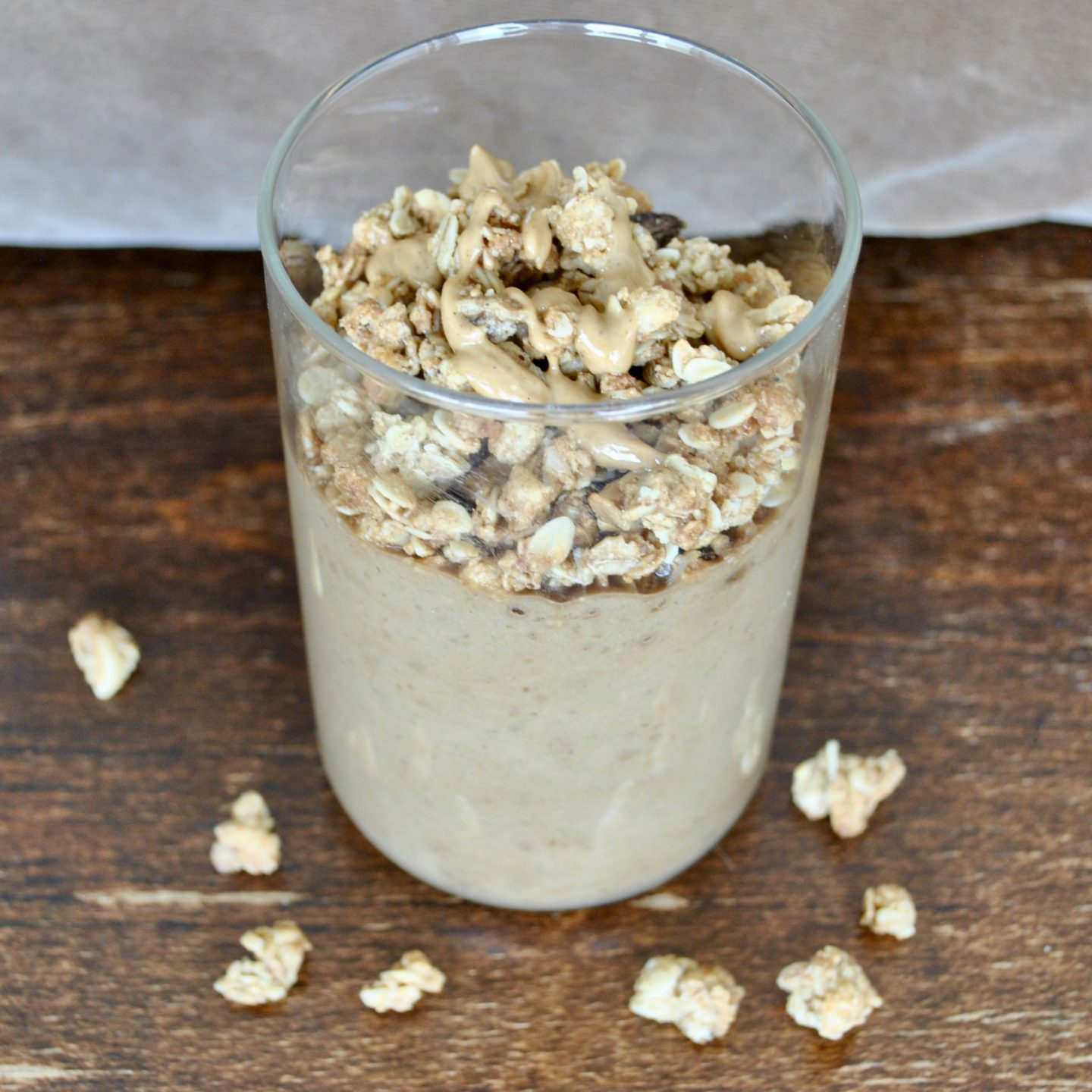 Chocolate Peanut Butter Cup Milkshake topped with Homemade Banana Granola