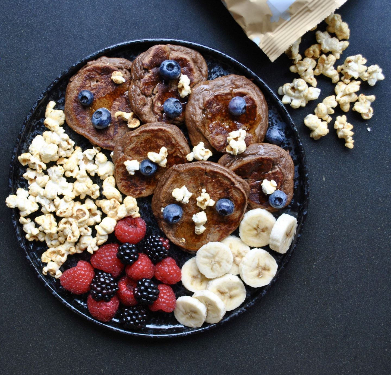 Popcorn Almond Butter Pancakes