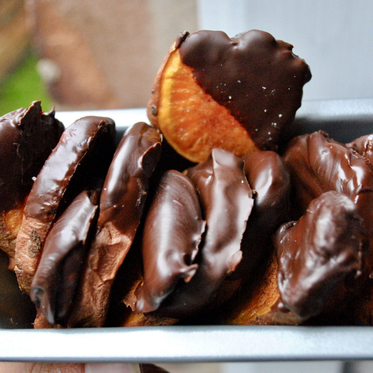 Chocolate-dipped sweet potato chips