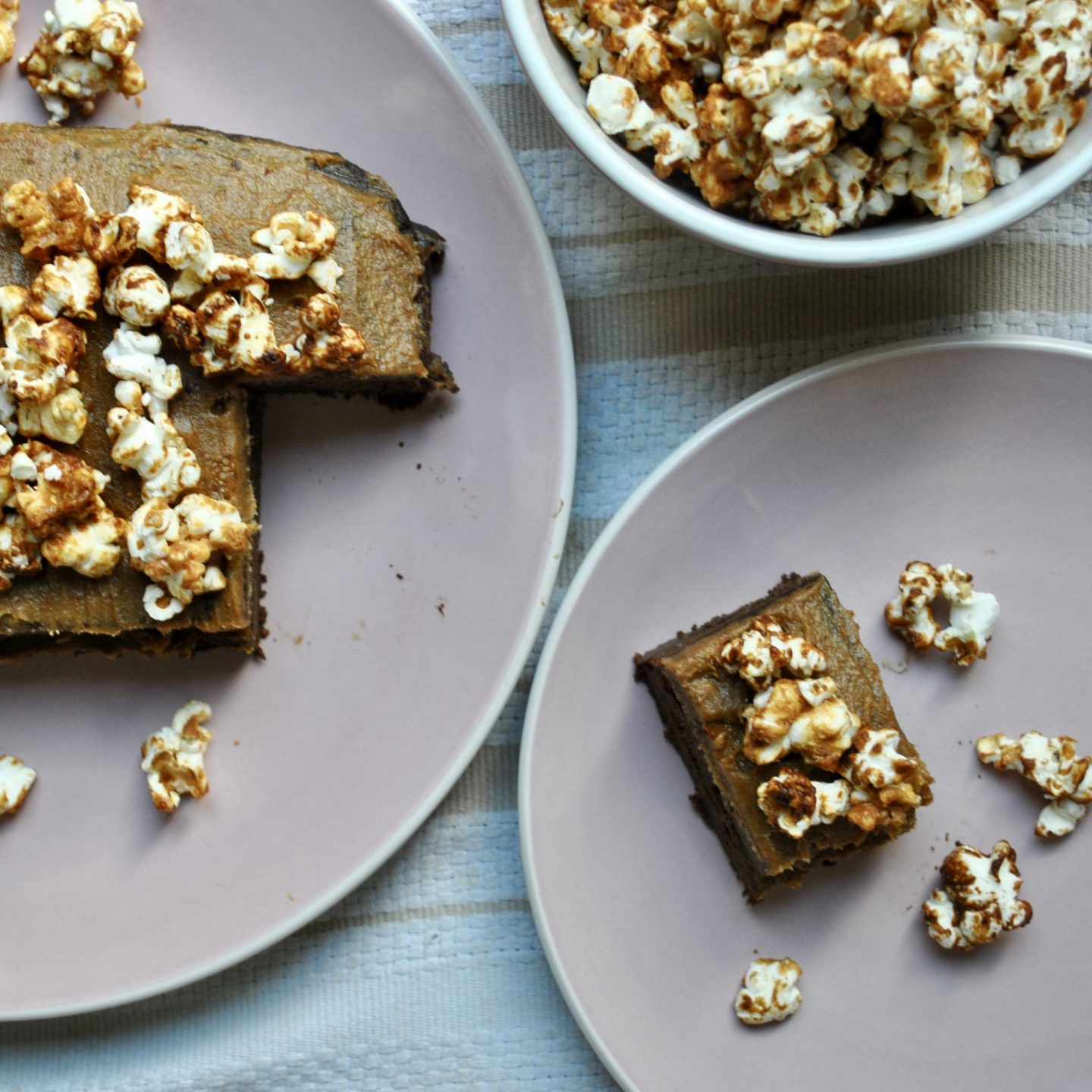 Gooey Chocolate Cake with Date Maca Caramel Frosting and Salted Caramel Popcorn