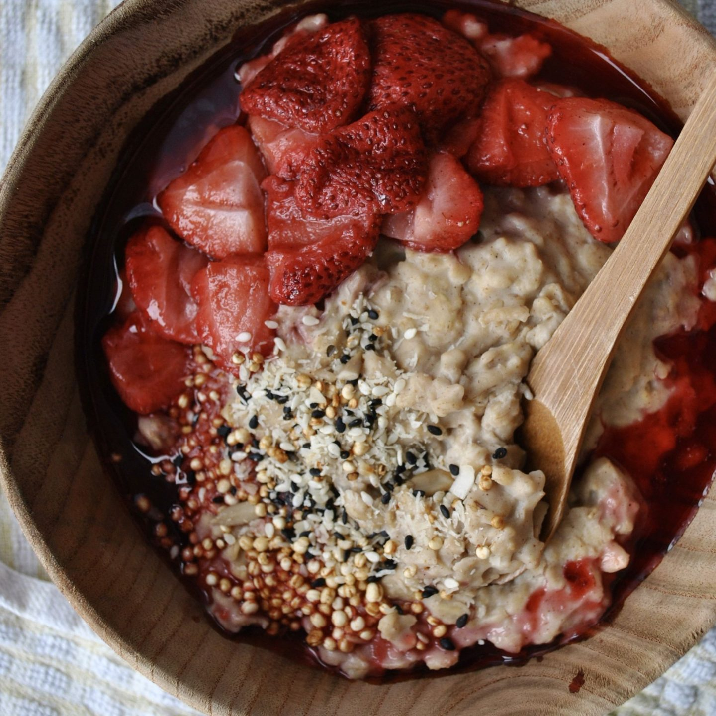 Creamy Coconut Porridge with Berry Compote Breakfast