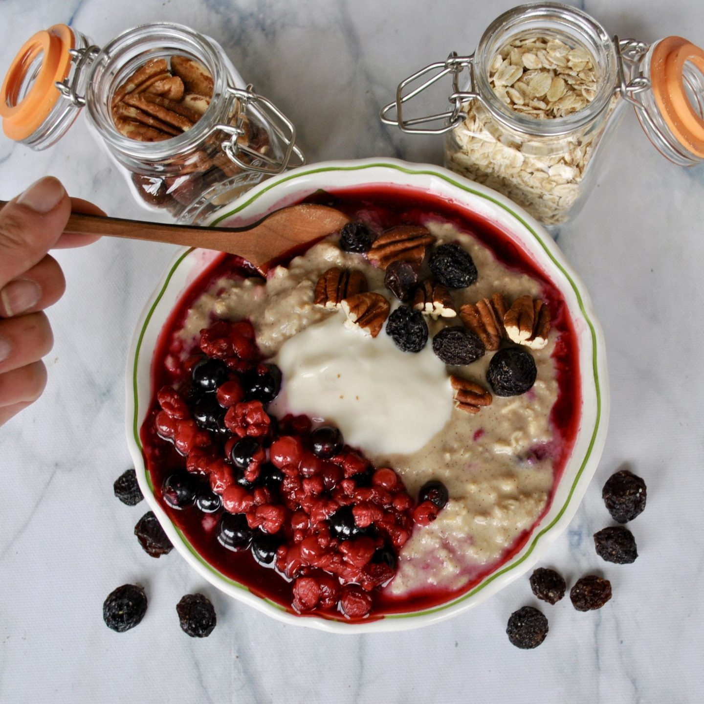 Creamy Coconut Porridge with Berry Compote