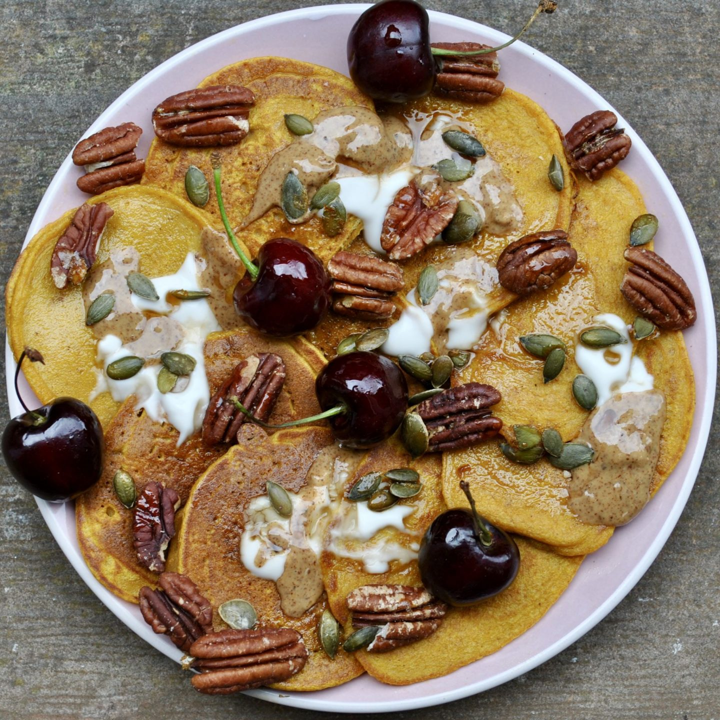 Gluten Free Dairy Free Pumpkin Pie Pancakes Recipe Eli Brecher cereal and peanut butter