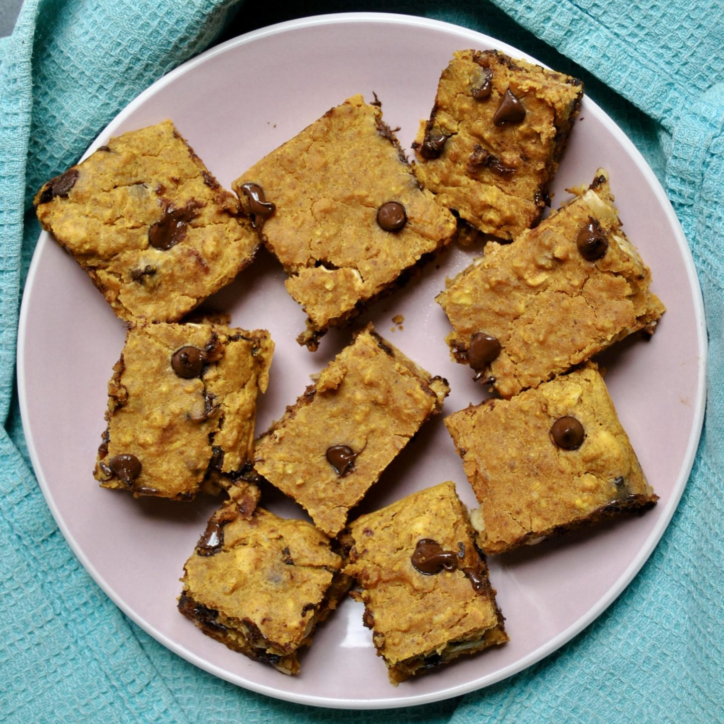Vegan Pumpkin Chocolate Chip Blondies Eli Brecher cereal and peanut butter