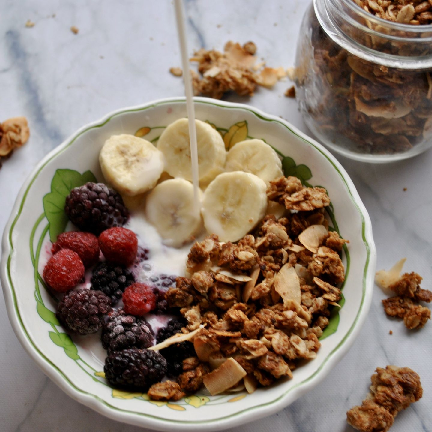 Coconut Almond Butter Granola Cereal And Peanut Butter