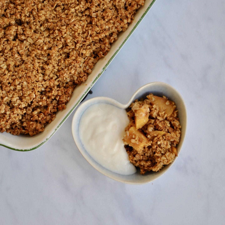 Peach Nectarine Crumble, Vegan Gluten Dairy Free